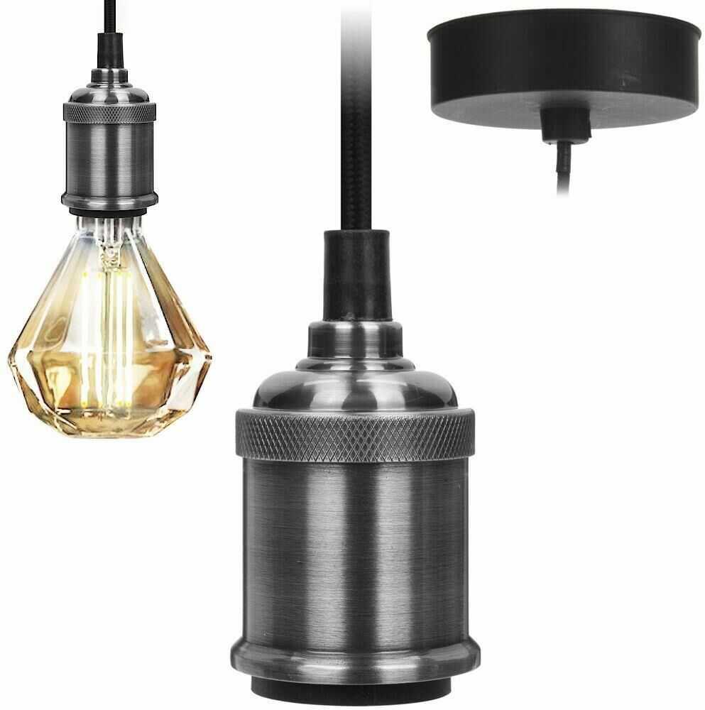 Oprawka oprawa żarówki obudowa lampa wisząca sufitowa metalowa srebrna