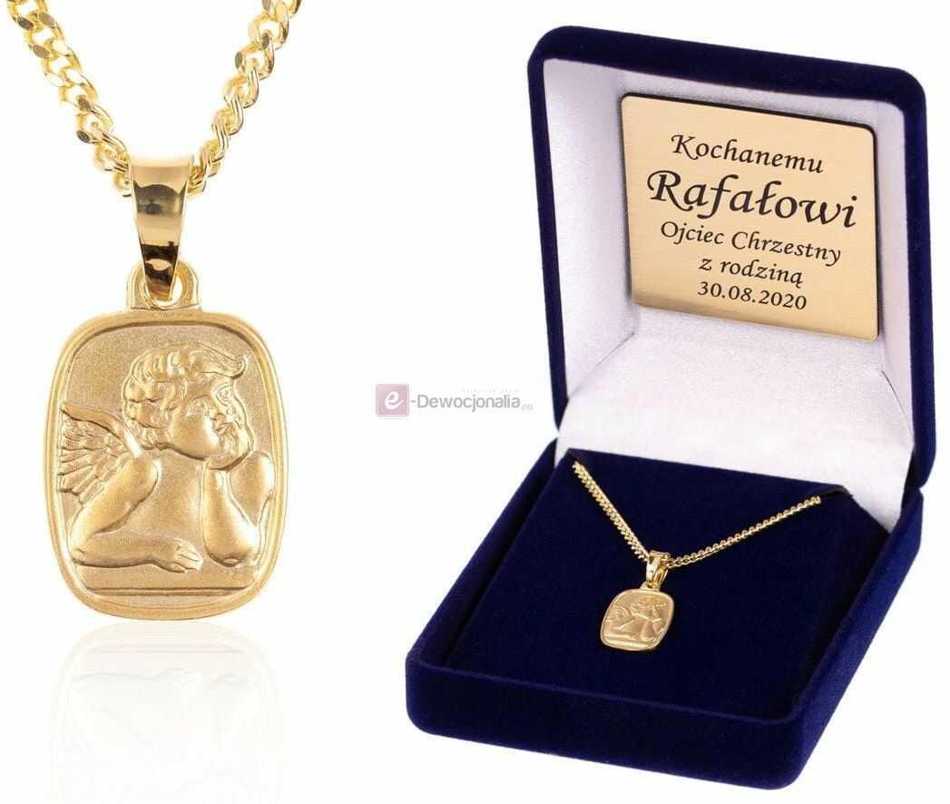 Komplet łańcuszek z medalikiem ANIOŁ - złocone srebro