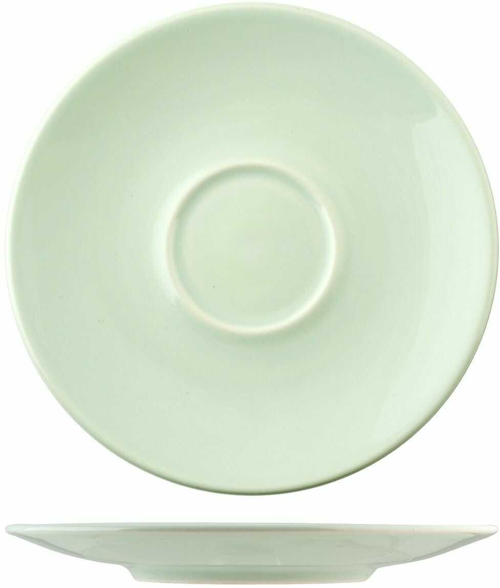 HOME 4295000 zestaw 6 spodków Jumbo ceramika zielona Arredo Tavola