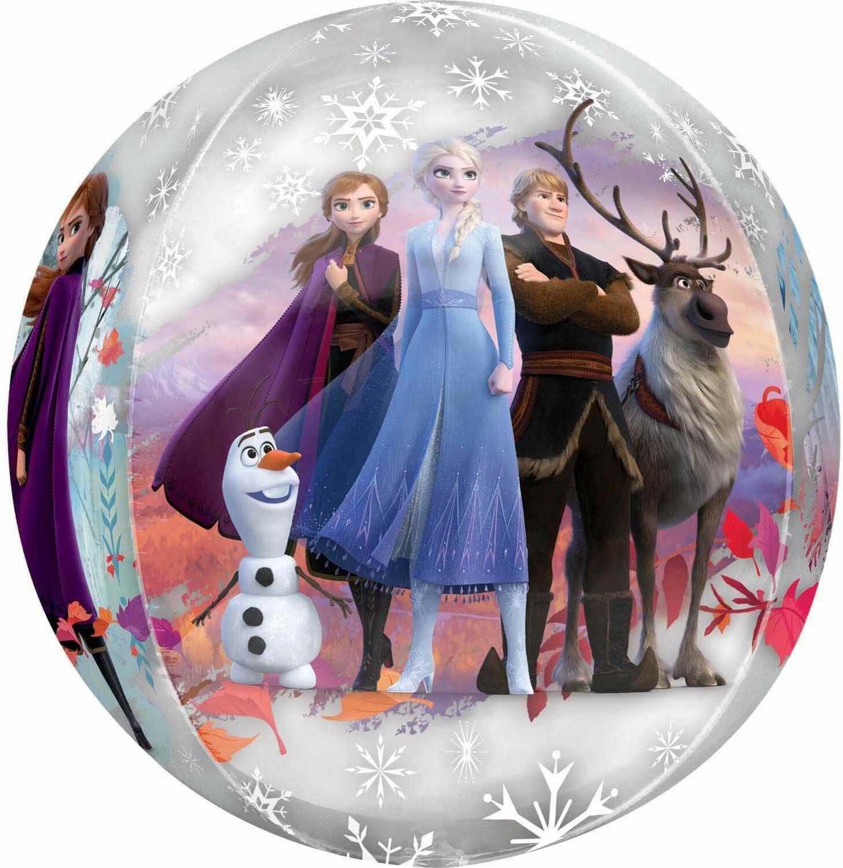 Balon foliowy w kształcie Orbz z motywem Disney Frozen 2 - 1 szt.