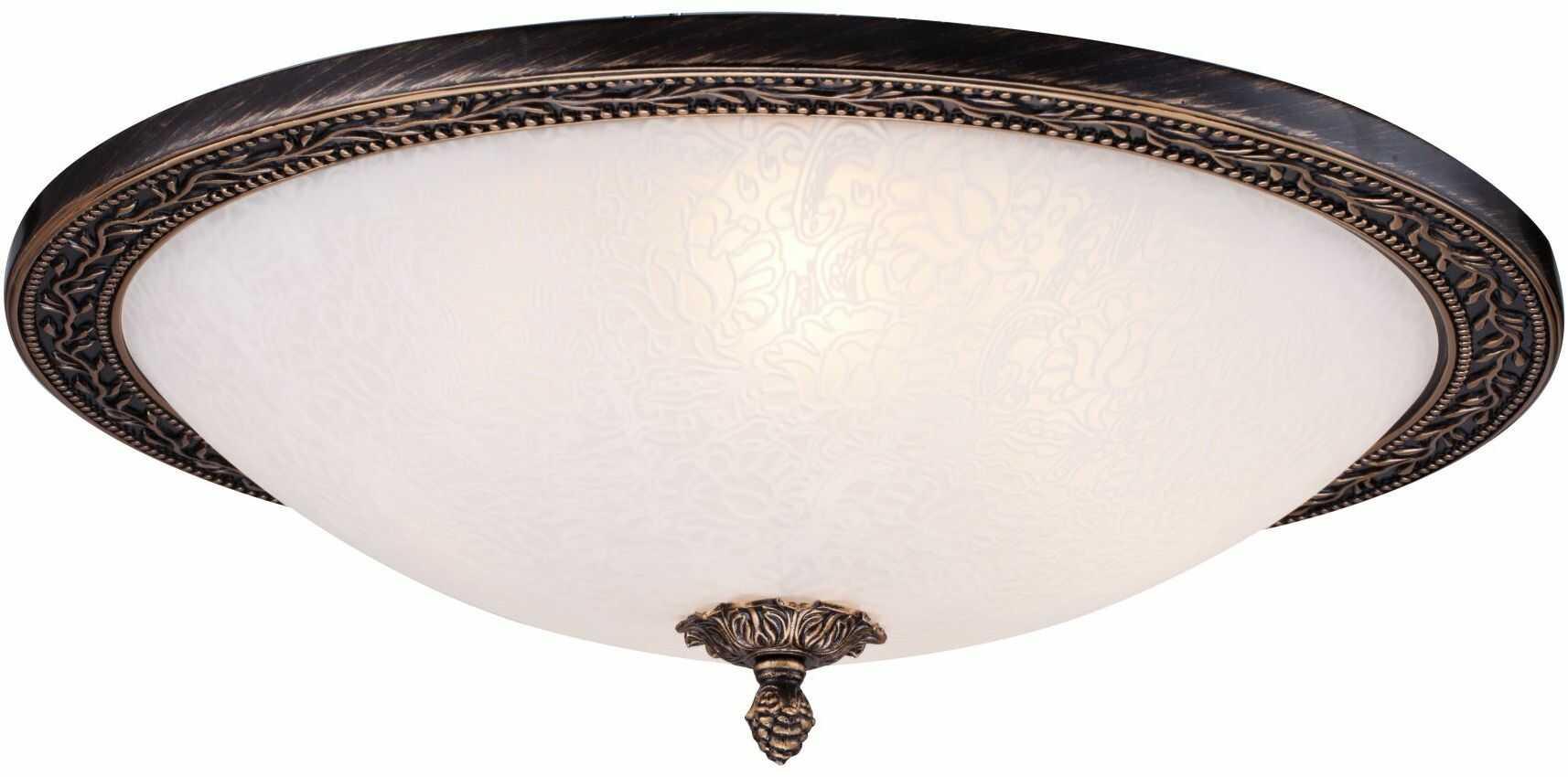 Maytoni Aritos C906-CL-04-R plafon lampa sufitowa metalowa ramka brązowy złoty klosz szkło białe piaskowane wzór 4xE27 40W 47 cm