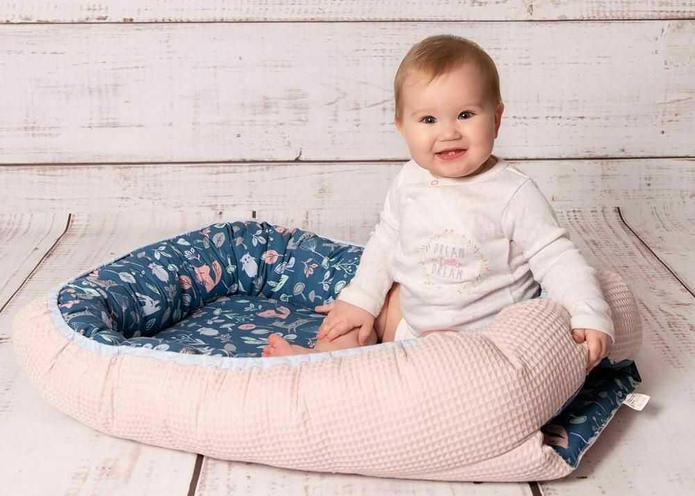 Gniazdko niemowlęce Prestige kokon 55x80 turkusowy ciemny pudrowy różowy zwierzęta leśne otulacz dwustronny TB0355_02