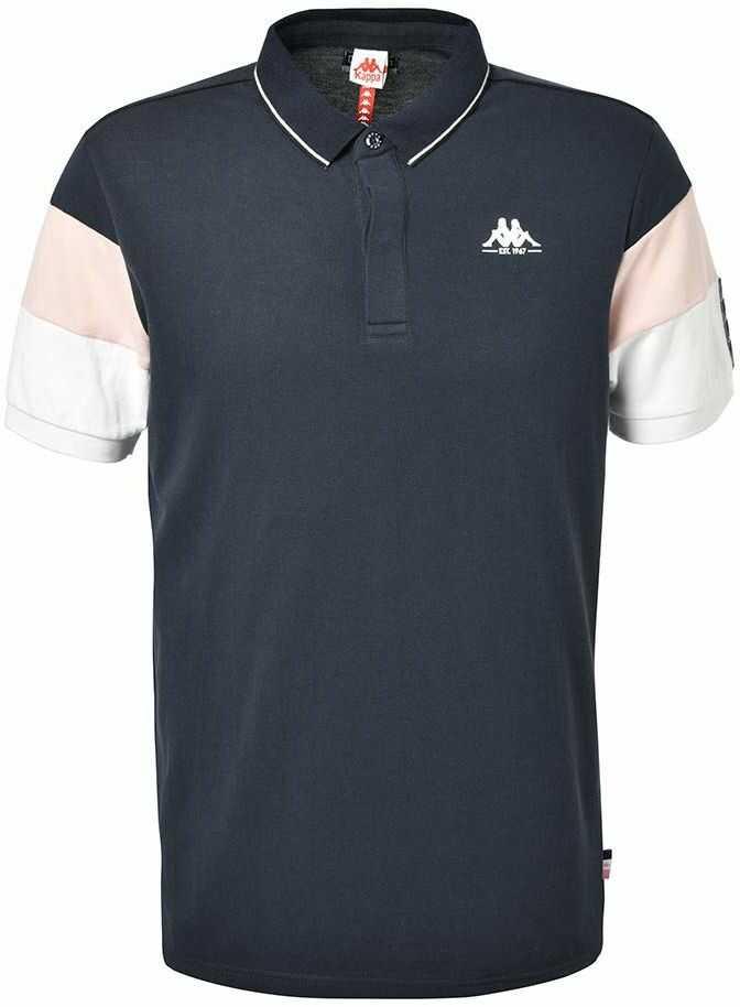 Kappa Męska koszulka polo Iselin, granatowa, różowa, biała, S