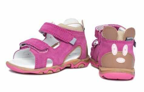 Bartek Baby 71144-V42 wysokie sandałki sandały dla dzieci - pink z myszką na zapiętku
