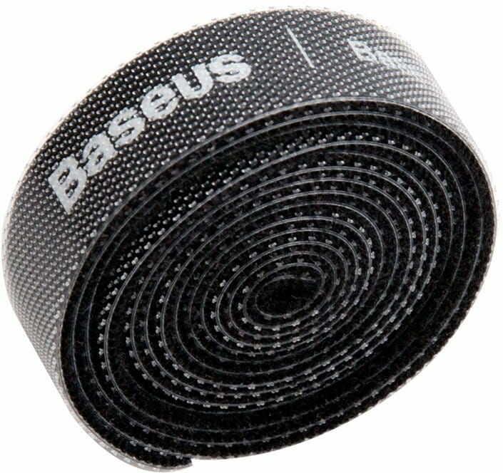 Taśma rzepowa, organizer kabli Baseus Colourful Circle Velcro Straps 1m (czarny)