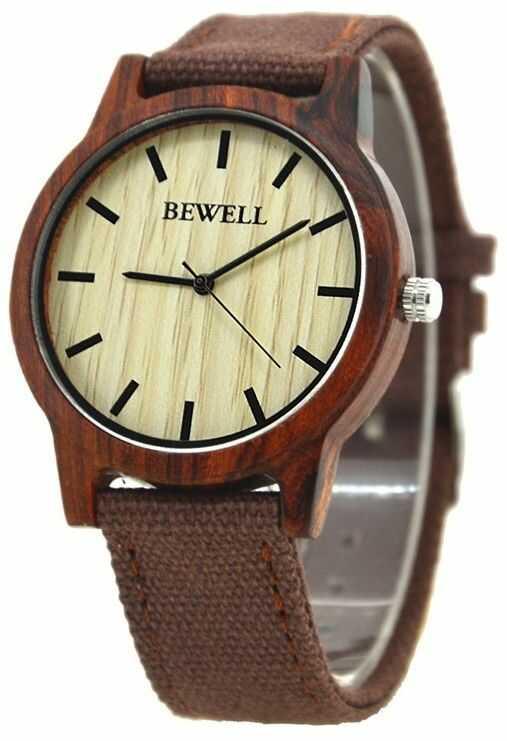 Elegancki zegarek drewniany Bewell Basic Czerwony