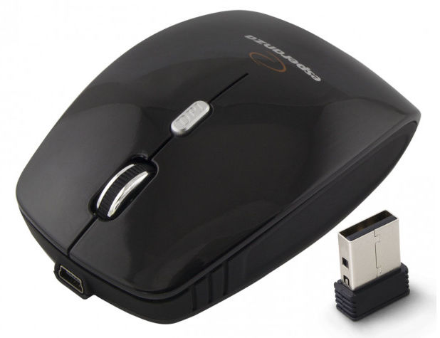 EM121K Mysz bezprzewodowa 2.4GHz 4D optyczna USB Charger czarna