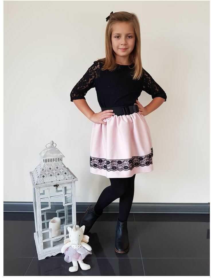 Dziewczęca spódnica z koronką 104-146 Elza pudrowy róż