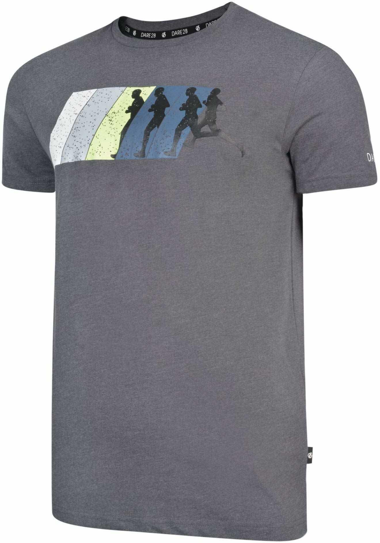 Dare 2b męski dynamiczny bawełniany prążkowany kołnierz graficzny nadruk koszulka z krótkim rękawem Grafitowy szary XS