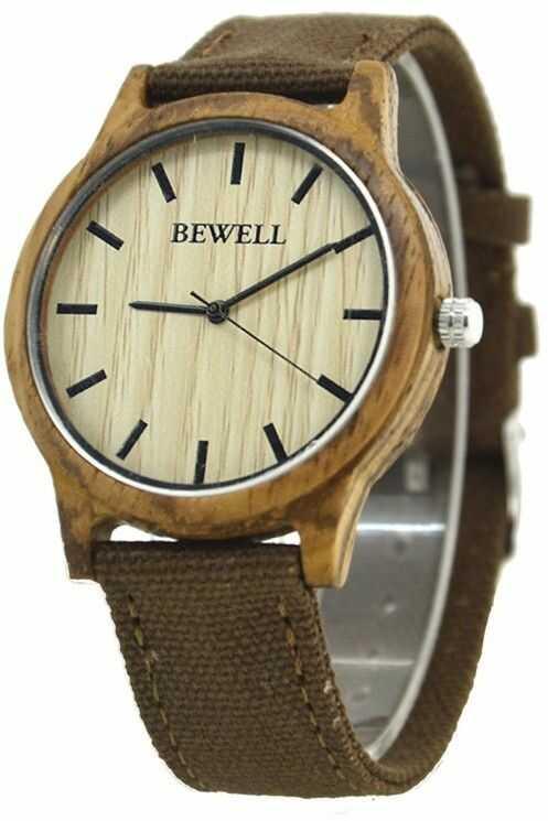 Stylowy drewniany zegarek Bewell Basic Brązowy + pudełko na zegarek