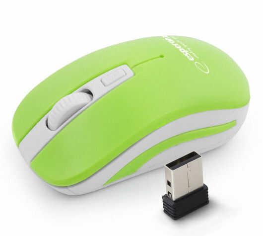 EM126WG Mysz bezprzewodowa 2.4GHz 4D optyczna USB Uranus zielono-biała