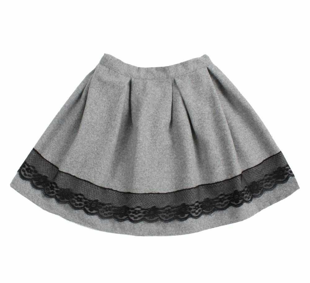 Ciepła spódnica z koronką 104-140 Anna szaro-czarna