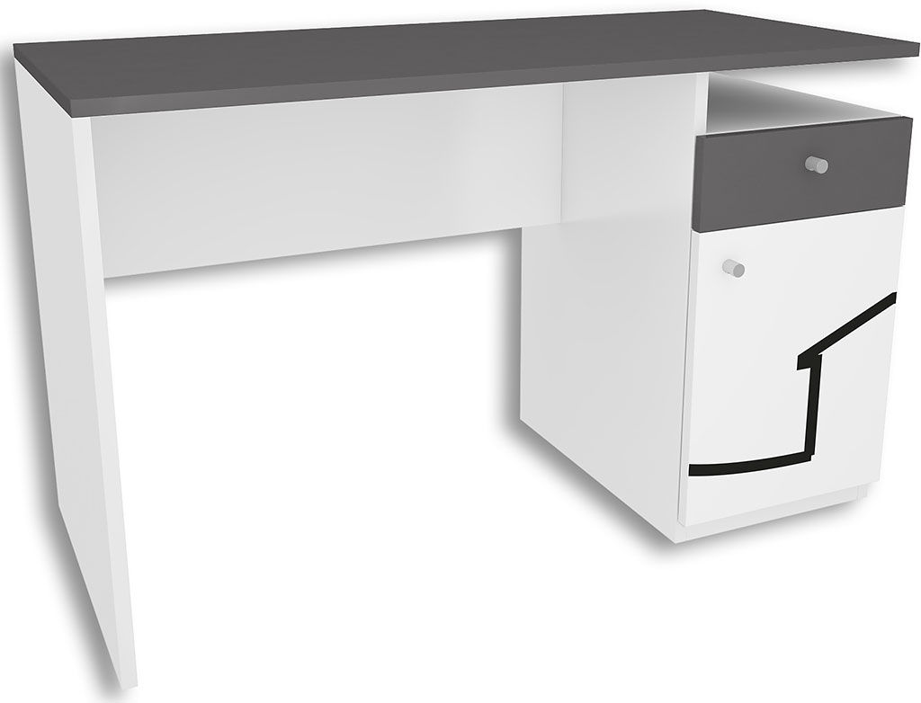 Biało-grafitowe biurko młodzieżowe Timi 3X - 5 kolorów