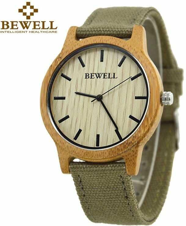 Stylowy drewniany zegarek Bewell Basic Khaki + pudełko na zegarek
