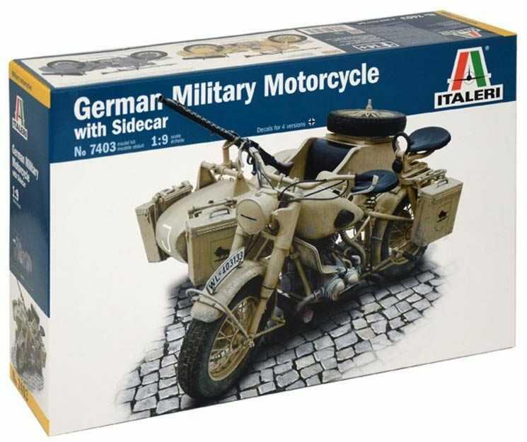"""Italeri 7403 1: 9 """"Deut wojskowy motocykl z bocznym samochodem"""