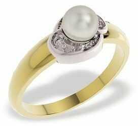 Pierścionek z białą perłą i diamentami LP-13ZB