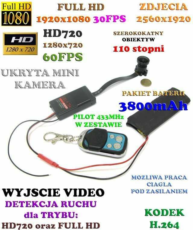 Mikro-Kamera HD/Full HD (do ukrycia/zabudowy) Nagrywająca Obraz+Dźwięk (7-dni Pracy!!) - Rybie OKO!!