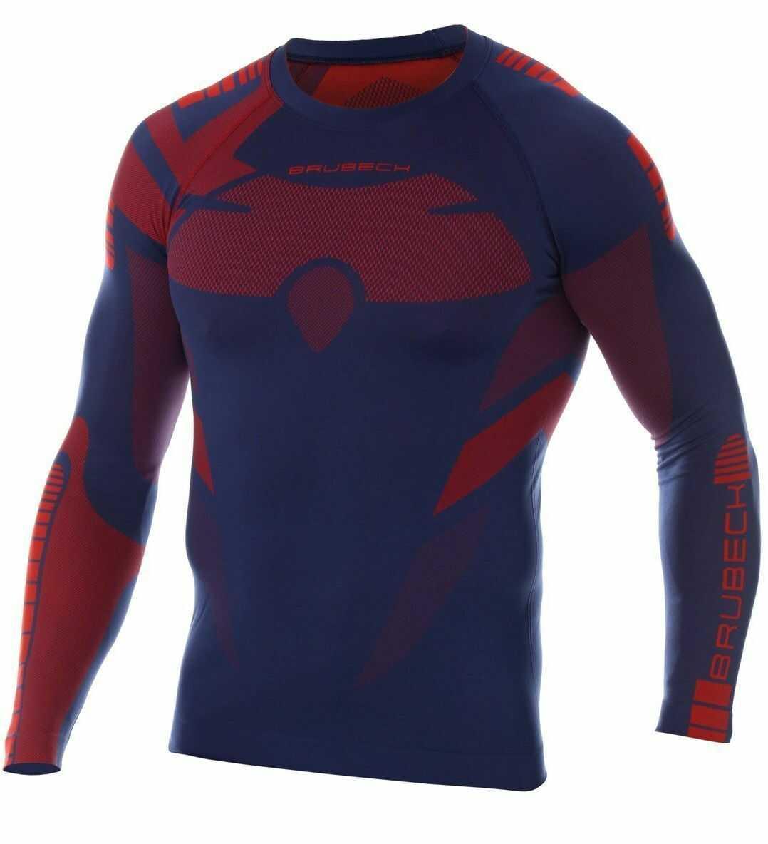 Męska Brubeck koszulka termoaktywna DRY granatowo-czerwony - LS13080 + Spodnie