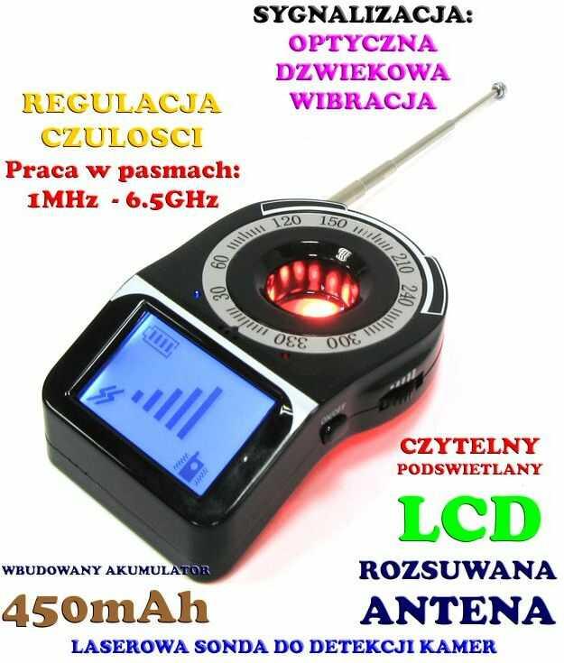 Laserowy Wykrywacz Podsłuchów, Kamer, GSM, Lokalizatorów GPS... z Wyświetlaczem LCD.