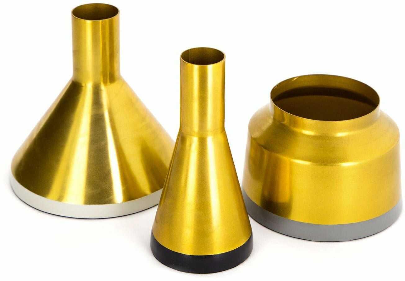One Couture Dekoracja wazon garnki złota dekoracja wazon metalowy 3-częściowy zestaw dekoracja salonu