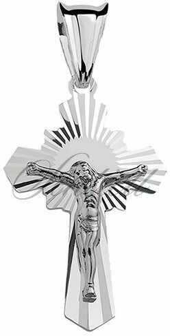 Srebrny jezus na krzyżu (pr.925) krzyżyk diamentowany