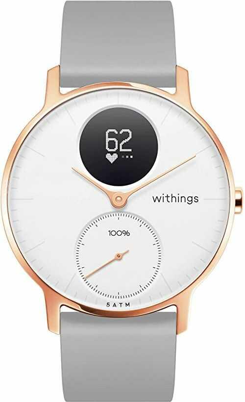 Withings Steel HR Hybrid Smartwatch  zegarek fitness z pomiarem tętna i aktywności, 36 mm  biały, szary silikonowy pasek