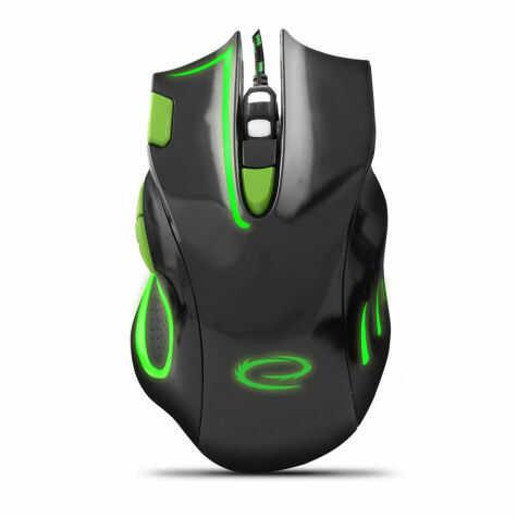 EGM401KG Mysz przewodowa dla graczy 7D optyczna USB MX401 Hawk czarno-zielona