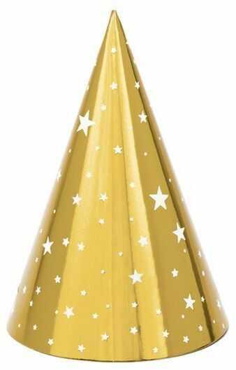 Czapeczki urodzinowe w gwiazdki złote 6 sztuk CPP20