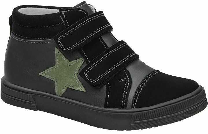 Trzewiki KORNECKI 6503 Czarne Grafit nieocieplane na rzepy Sneakersy