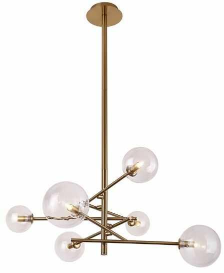 Maxlight Lollipop P0294 lampa wisząca metal mosiądz szklane klosze nowoczesna 6xmax 40W G9 88cm