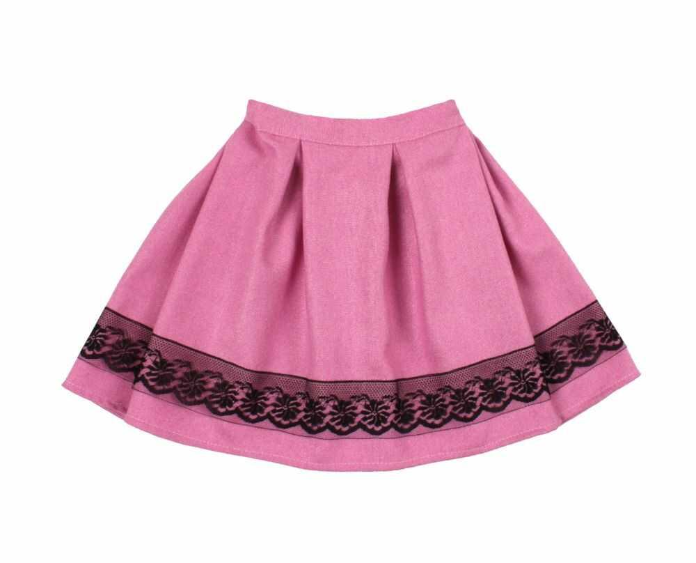 Spódnica z plisem i koronką 104-140 Anna różowo-czarna