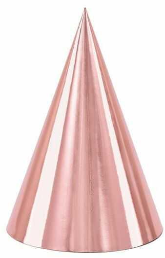 Czapeczki urodzinowe różowe złoto 6 sztuk CZAP6-019R