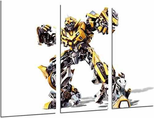 Obraz ścienny - Transformers żółty, Autobots, Hummel, biały, 97 x 62 cm, druk drewniany - format XXL - druk artystyczny, ref.26937