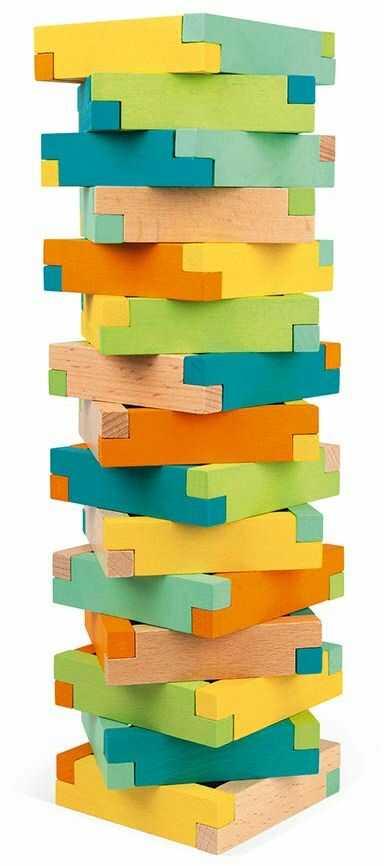 Janod J08300 beczka z 60 klockami konstrukcyjnymi drewnianymi, rozwój motoryki precyzyjnej i koncentracji, drewno bukowe z certyfikatem FSC, masywne farby na bazie wody od 4 lat