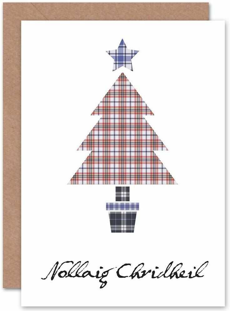 Wee Blue Coo Świąteczne gwiazdy, tartan drzewo nowa kartka podarunkowa z pozdrowieniami