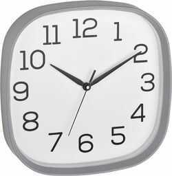 TFA Dostmann Analogowy zegar ścienny, 60.3053.10, z bezgłośnym napędem Sweep, szklana pokrywka, szary, (dł.) 295 x (szer.) 55 x (wys.) 295 mm