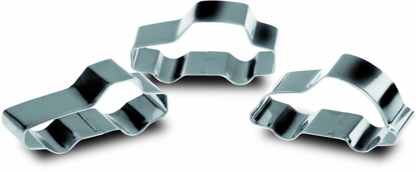 Trzy foremki ze stali nierdzewnej w kształcie samochodów