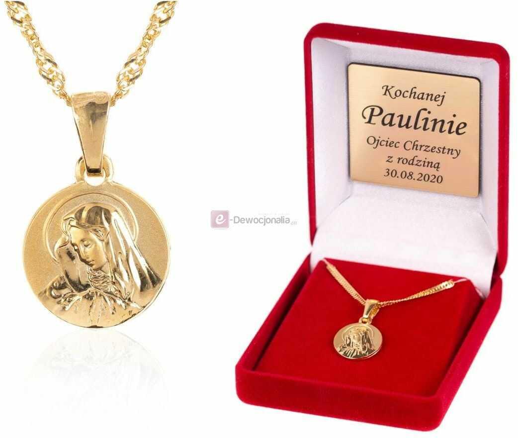 Komplet łańcuszek z medalikiem MB Bolesna - złocone srebro