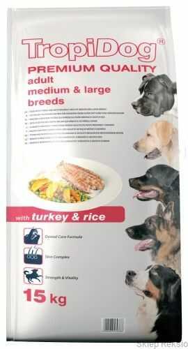 TROPIDOG Premium Adult Medium & Large Breeds - Turkey & Rice 12kg