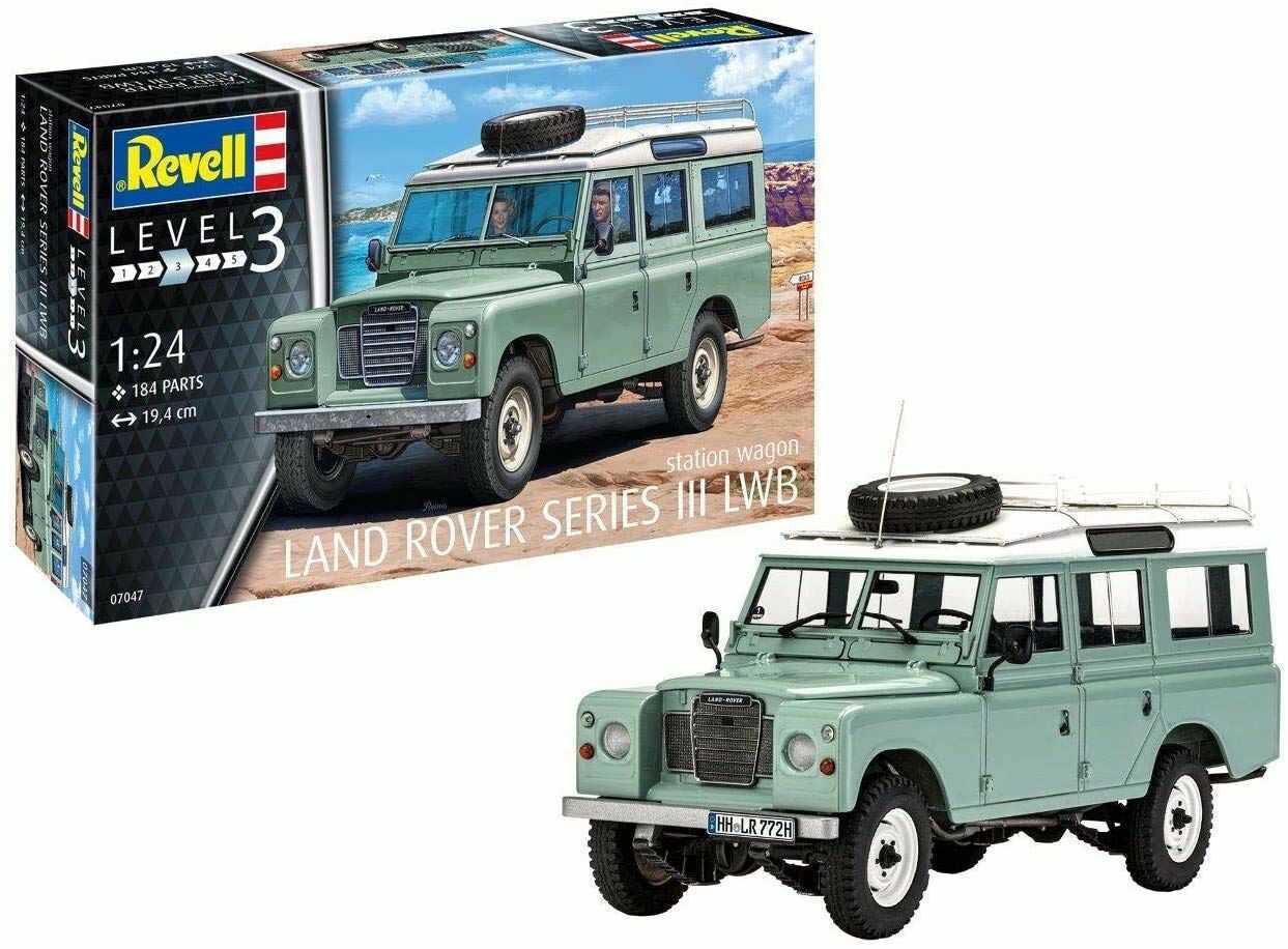 Revell Revell 07047 7047 Kultauto Land Rover Series III LWB Station Wagon do samodzielnego montażu, zestaw do budowy modeli samochodowych 1:24, 19,4 cm REV-07047, nielakierowany, 44220