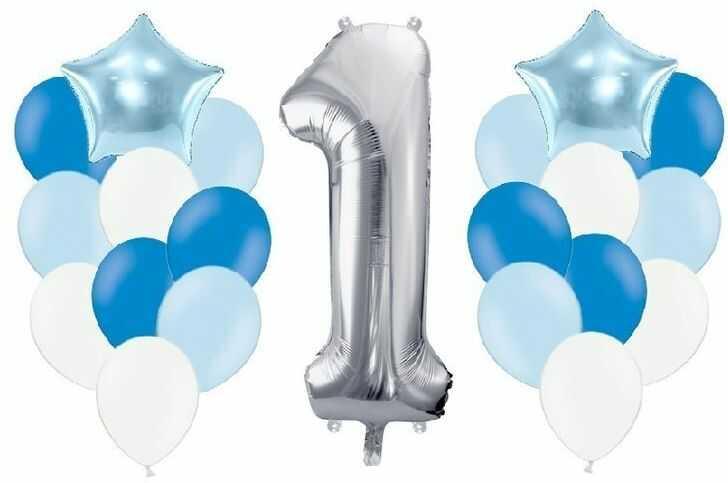 Zestaw balonów na Roczek chłopca 21 sztuk A1