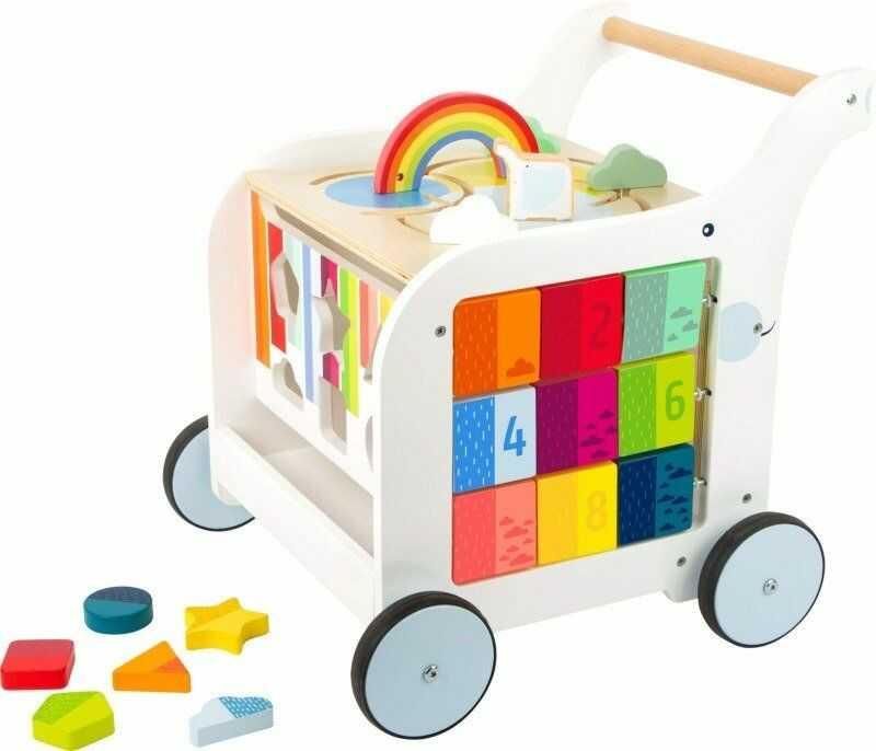 Drewniany chodzik dla dzieci Tęczowy słonik 11607-Small Foot Design, zabawki edukacyjne dla dzieci