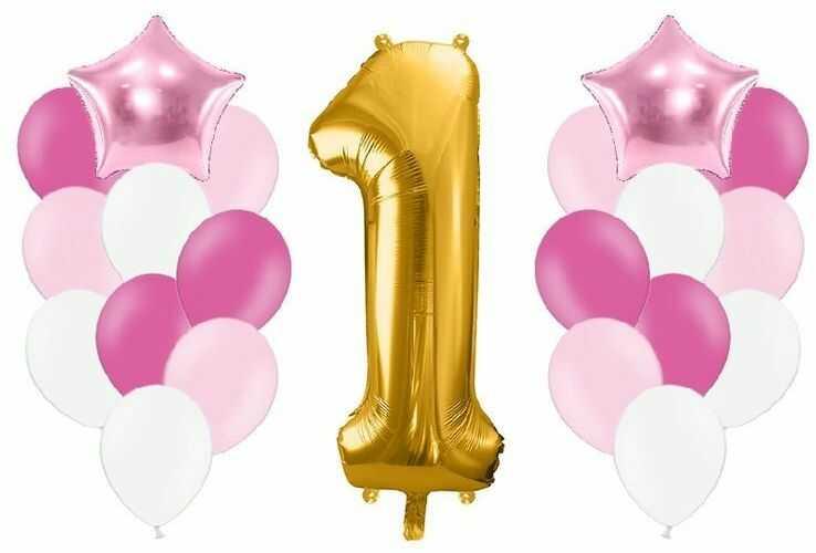 Zestaw balonów na Roczek dziewczynki 21 sztuk A2