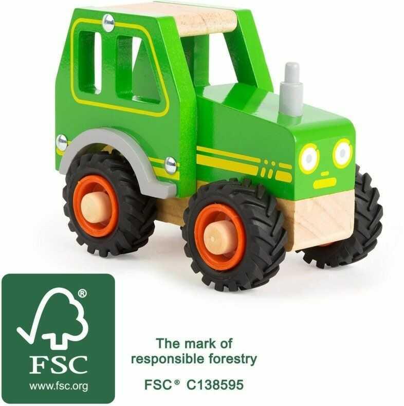 Drewniany Zielony traktor Mini Max 11078-Small Foot Design, pojazdy dla dzieci