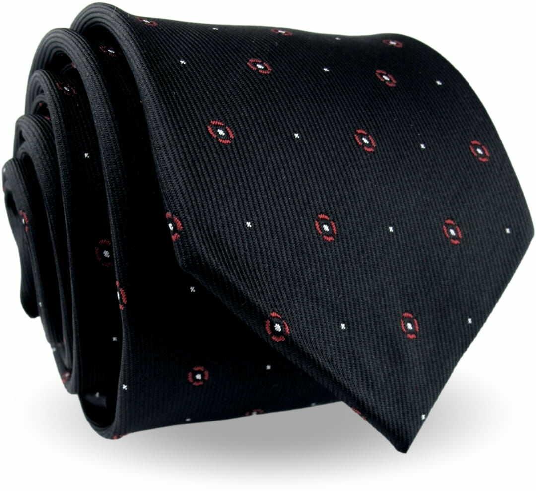 Krawat Męski Elegancki Modny Klasyczny szeroki czarny w kropki kółka G603