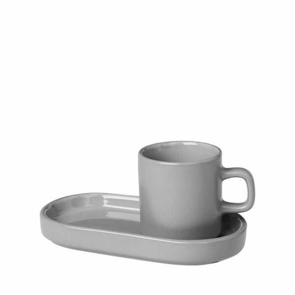 Blomus PILAR Filiżanka ze Spodkiem do Espresso 2 Szt. Szara