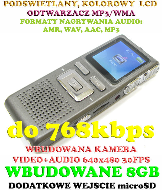 Profesjonalny Rejestrator Dźwięku (8GB) + Mikro-Kamera + Kolorowy Ekran LCD + Słuchawki itd.