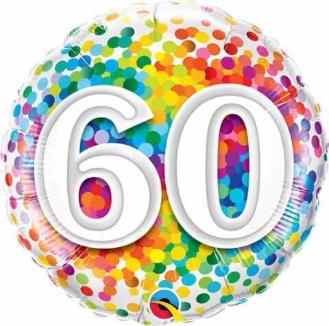 """Balon foliowy 18"""" na 60 urodziny """"60 Confetti"""""""