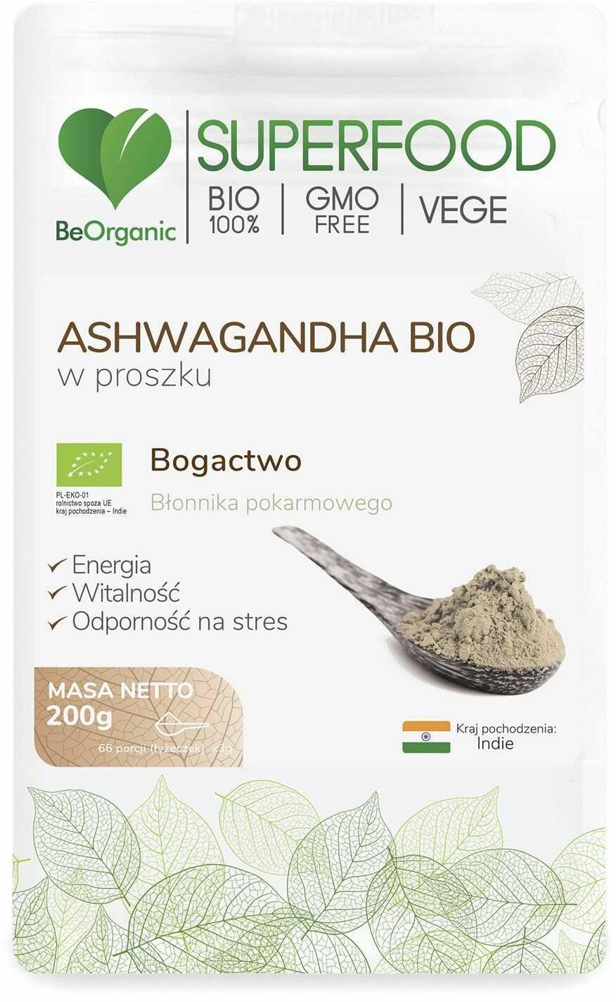 Ashwagandha Bio SuperFood Proszek 200 g BeOrganic