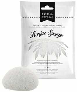 Gąbka z rośliny konjac do mycia twarzy i ciała biała Konjac Sponge
